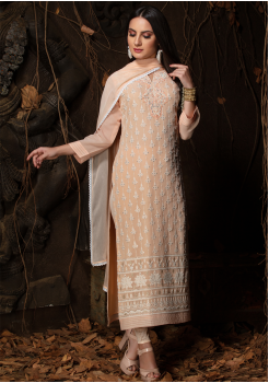 Light Peach Color Designer Viscose Straight Cut Suit